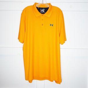 Mens Under Armour Orange Golf Polo Shirt XL Heat